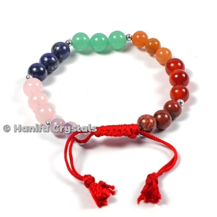 7 Chakra Stones Bracelets With Cord