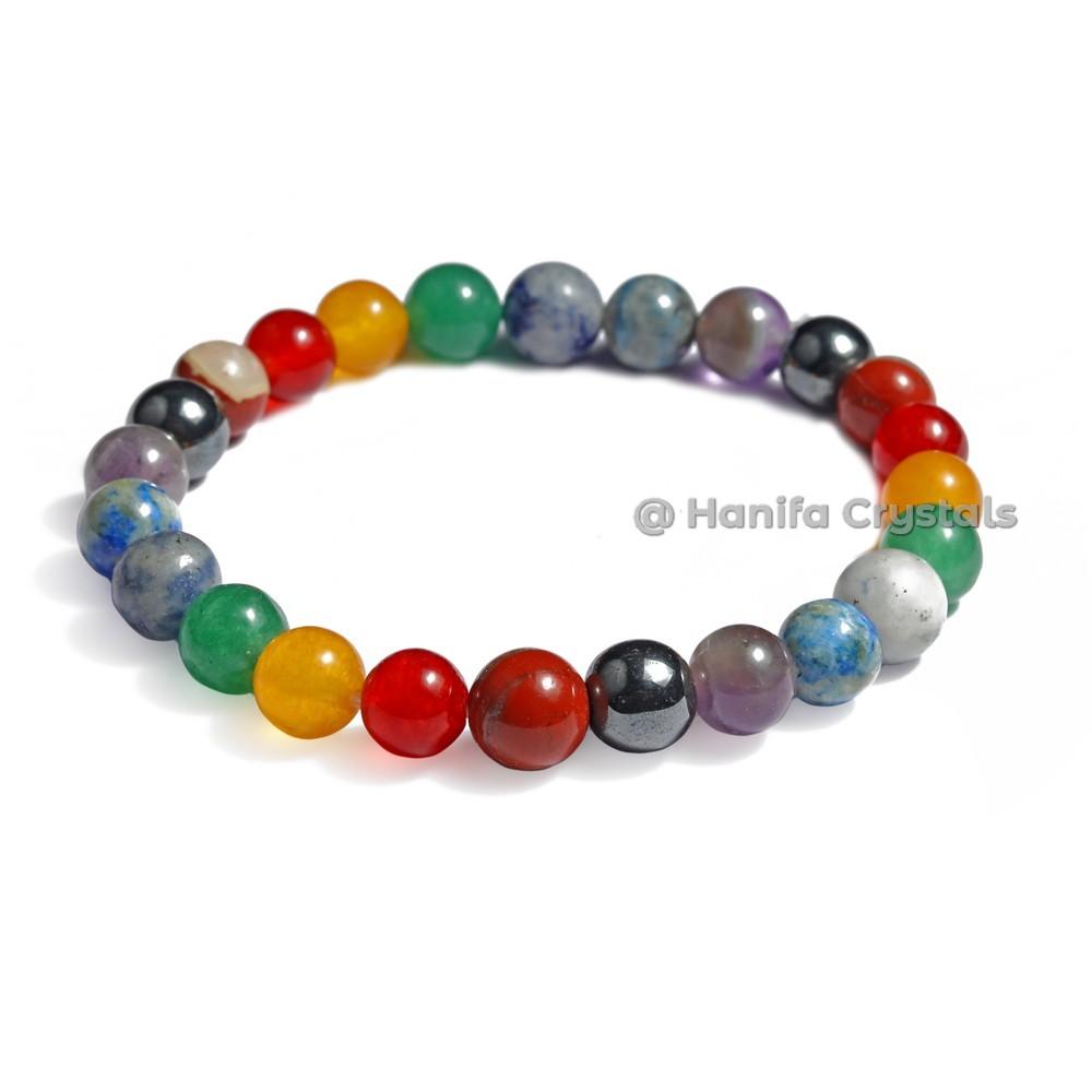 7 Chakra Hematite Stone Bracelet