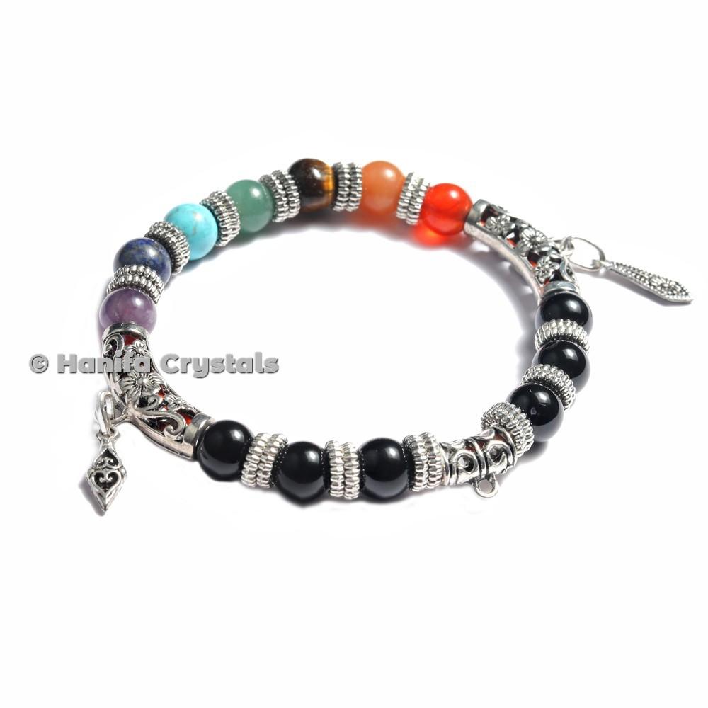 Antique Accent Design 7 Chakra Stones Bracelet