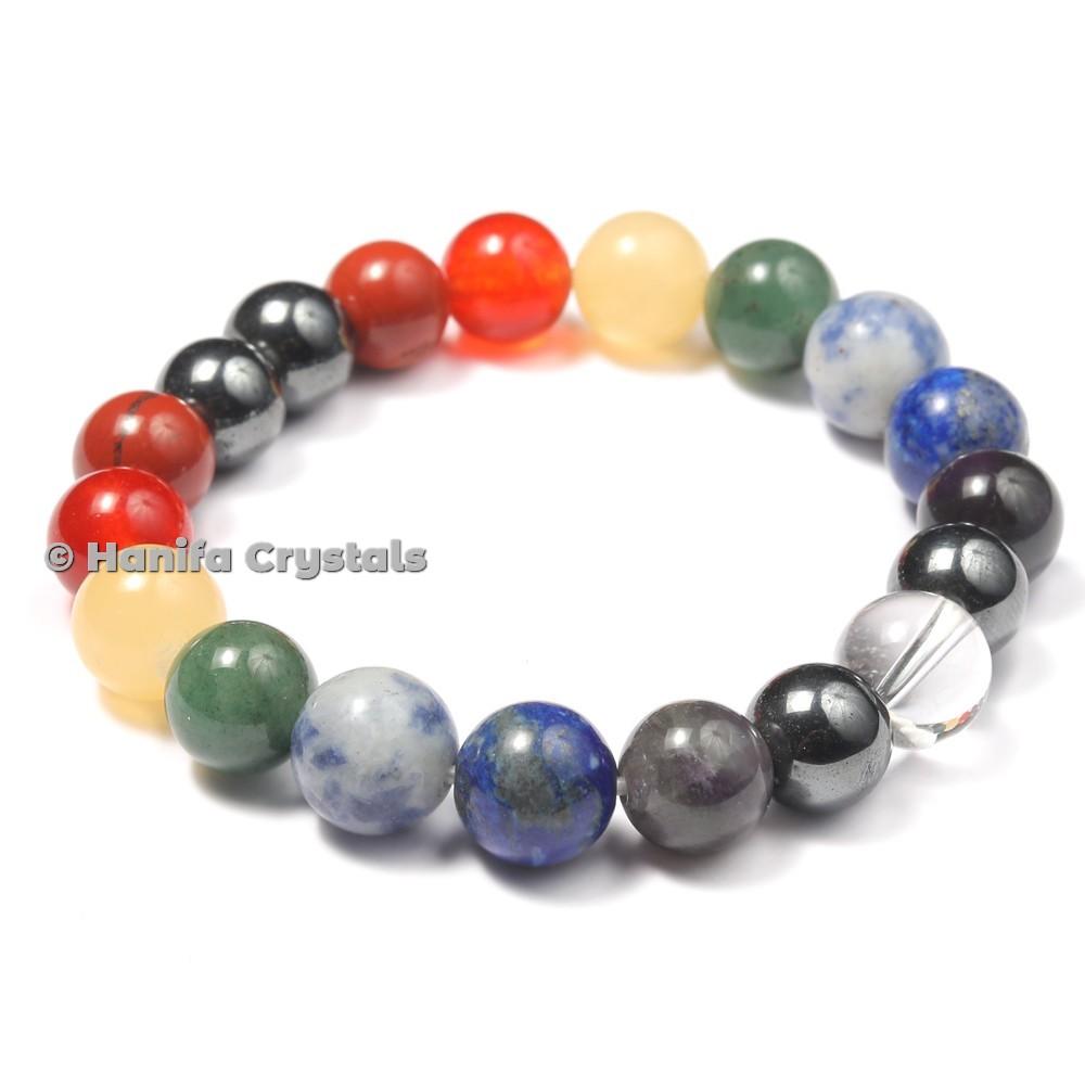Large Stones Beads 7 Chakra Bracelet