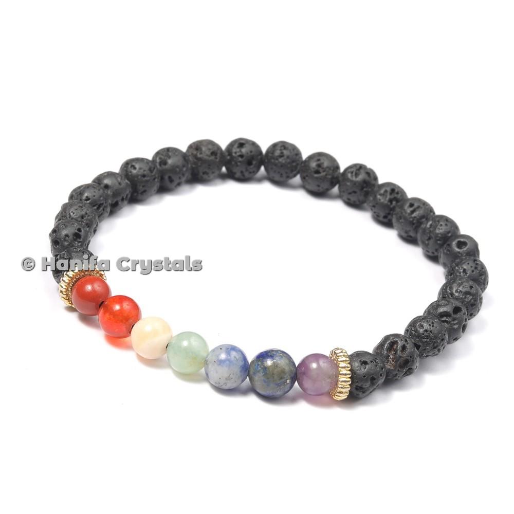 7 Chakra Bracelet With Lava Stone