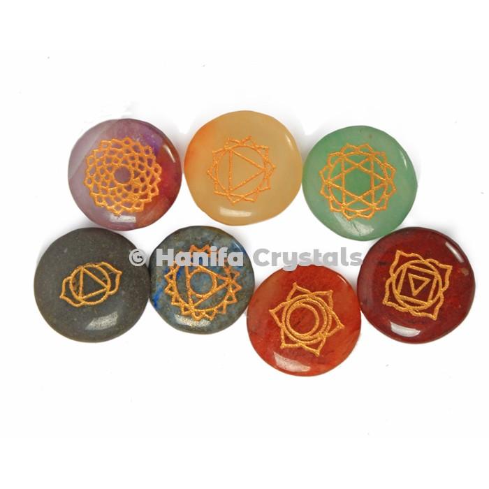 7 Chakra Stone Engraved Disc Set
