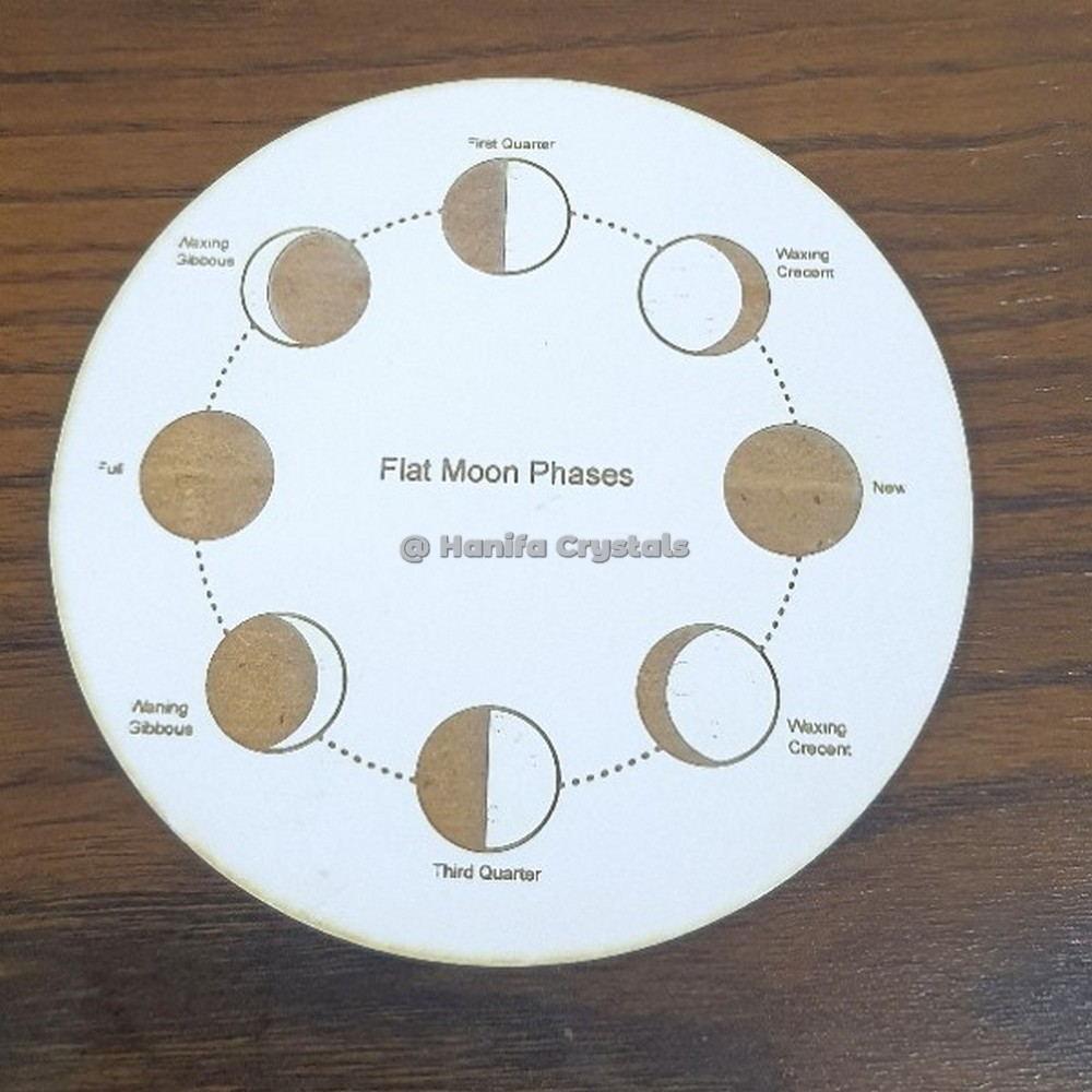 Moon Phases Engraved MDF Coaster And Grid