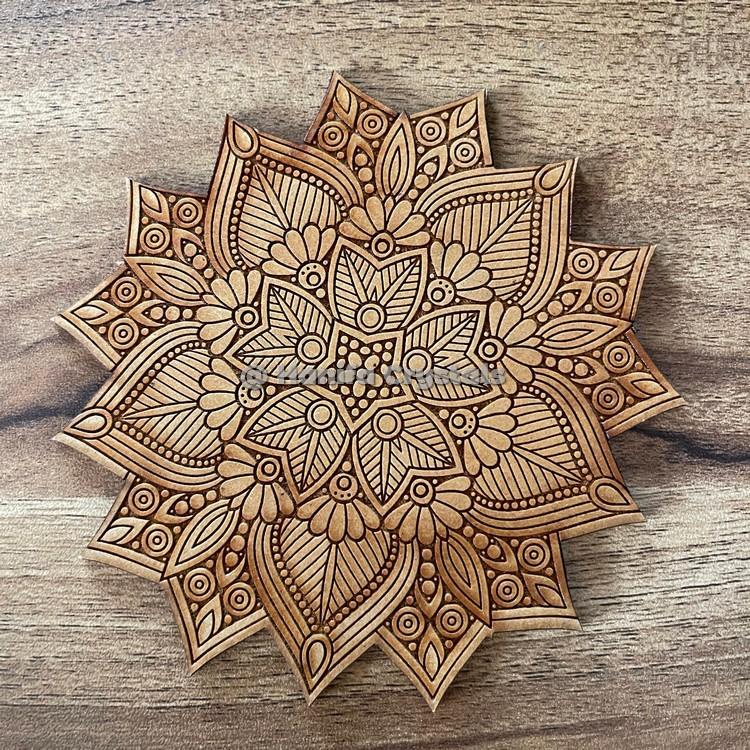 Star Mandala MDF Coaster And Grid