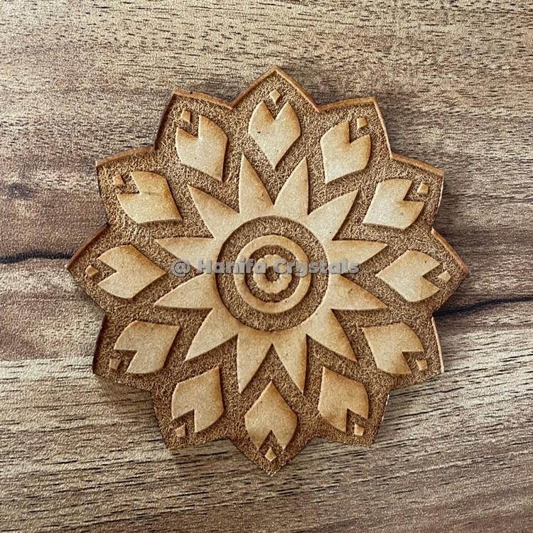 Pentagram Engraved MDF Coaster And Grid