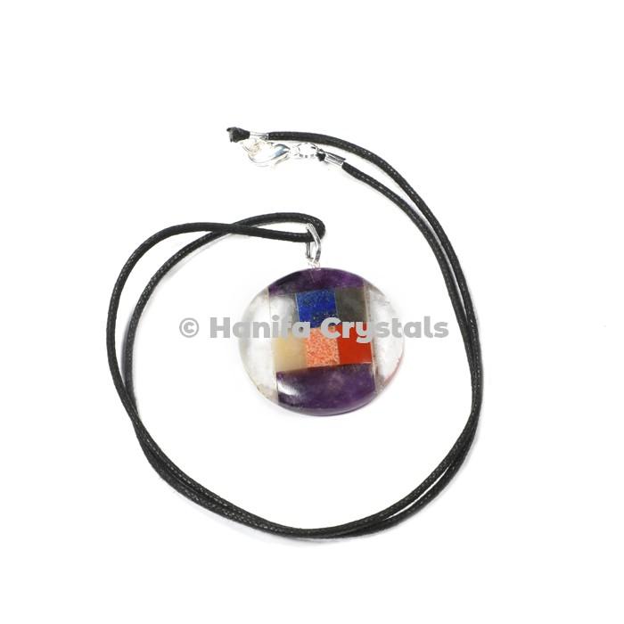 Bonded Seven Chakra Disc Pendant