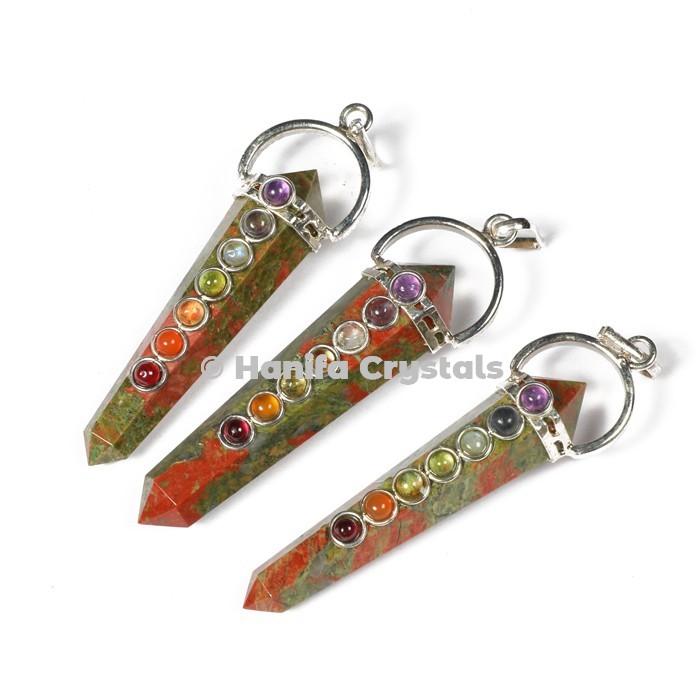 Unakite  with Seven Chakra Stones Pencil Pendants