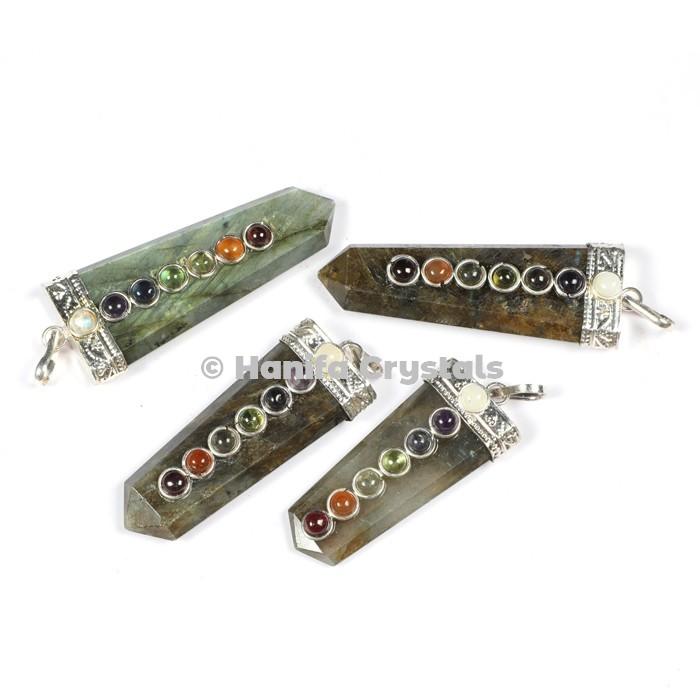 Labrodrite with Seven Chakra Stones Pencil Pendants