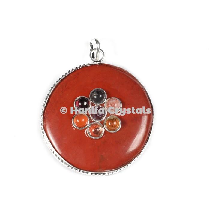 Red Jasper with Seven Chakra Stones Disc Pendant