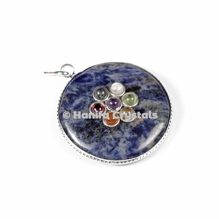 Sodalite with Seven Chakra Stone Disc Pendant