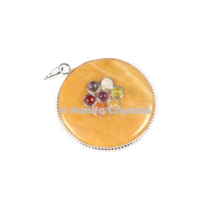 Golden Quartz with Seven Chakra Stones Disc Pendant