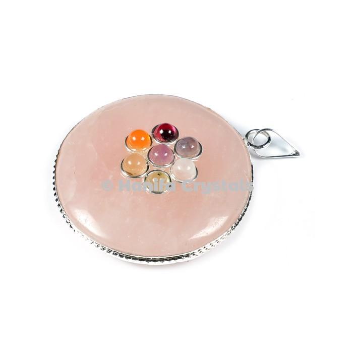 Rose Quartz with Seven Chakra Stones Disc Pendant