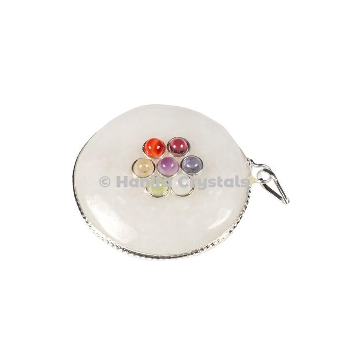 White Quartz with Seven Chakra Stones Disc Pendant