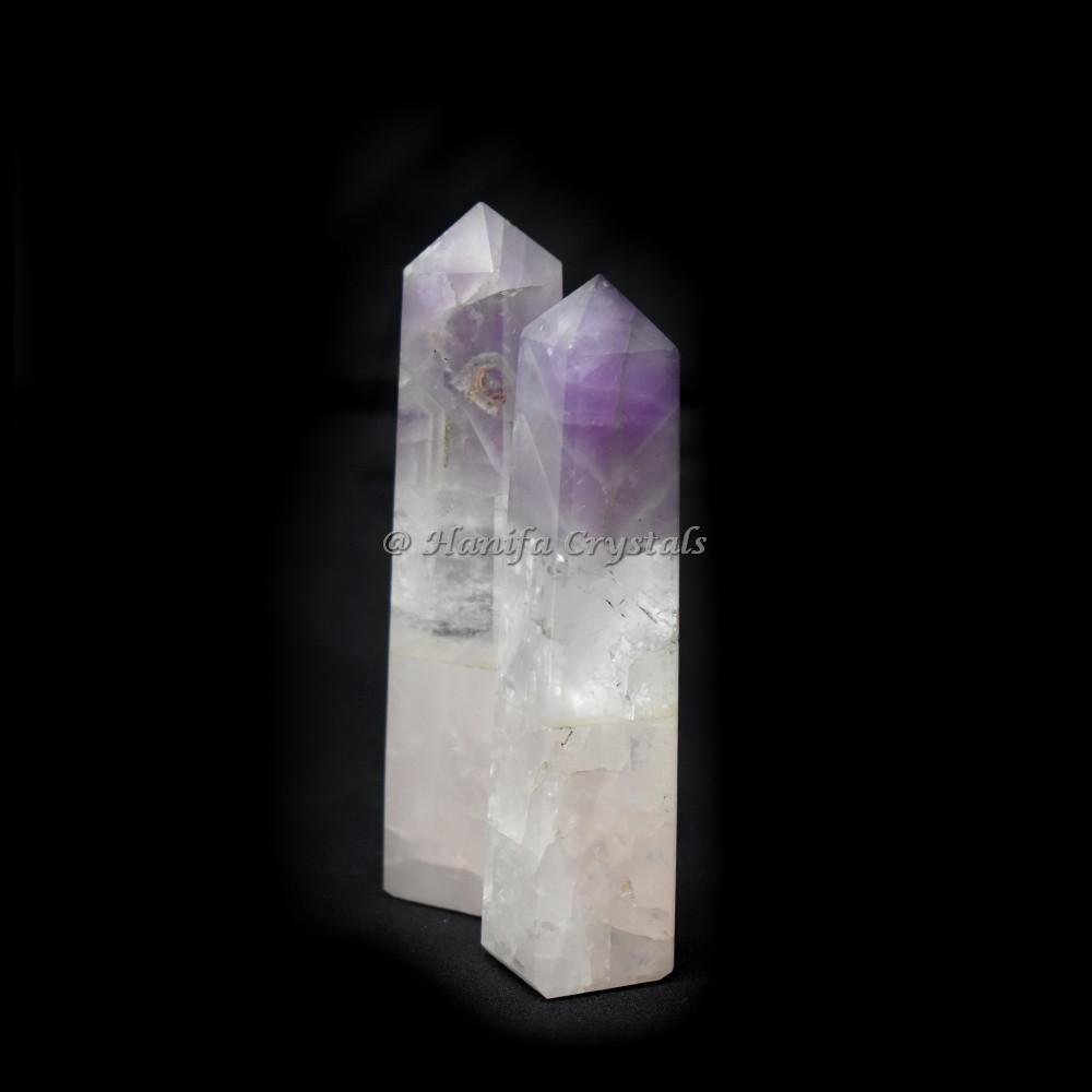 Bonded Rose Quartz Crystal Quartz Amethyst Obelisk Point