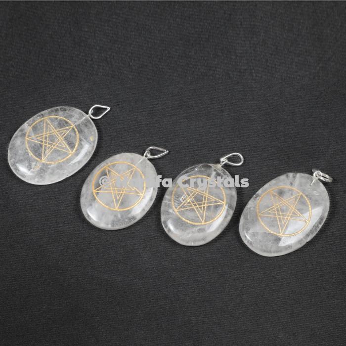 Engraved Crystal Quartz Oval Pendants