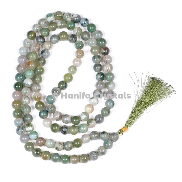 Moss Agate Japa Mala Beads
