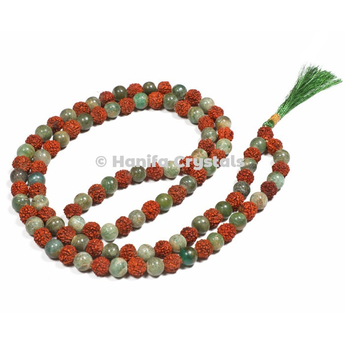 Green Aventurine With Rudraksha Japa Mala