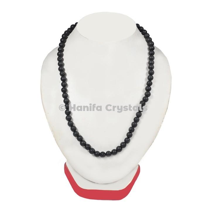 Black Lava Beads Necklace
