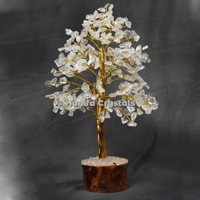 Crystal Quartz 300 Chips Gemstone Golden Wire Tree
