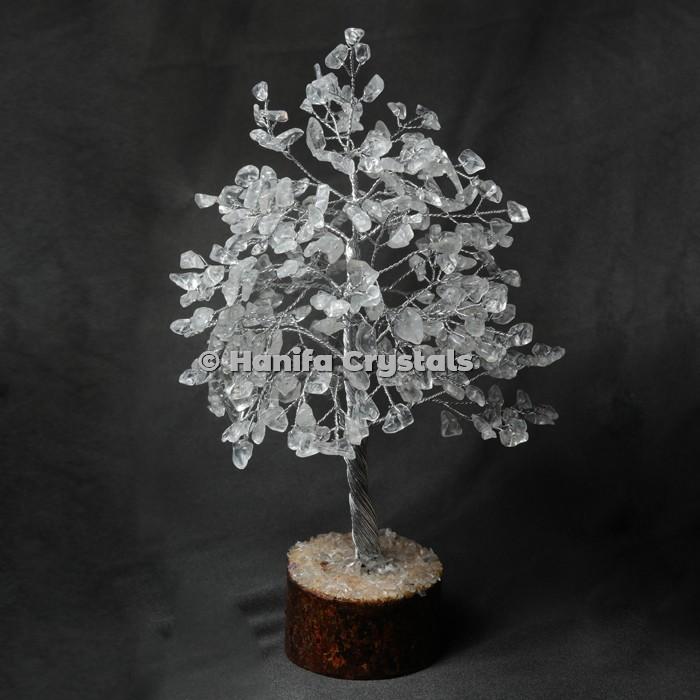 Crystal Quartz 300 Chips Gemstone Silver Wire Tree