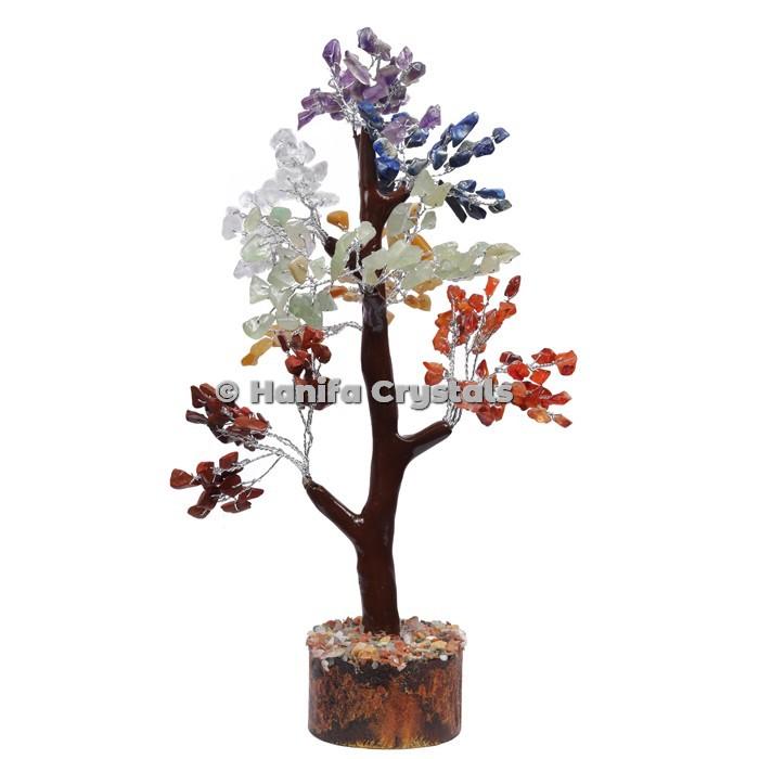 7 Chakra Mseal 300 Chips Gemstone  Silver Wire Tree