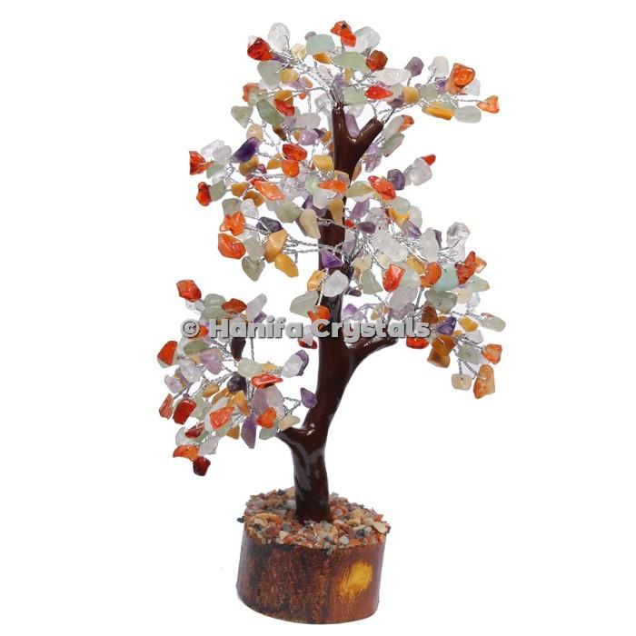 Multi Stone Mseal 300 Chips Gemstone  Silver Wire Tree