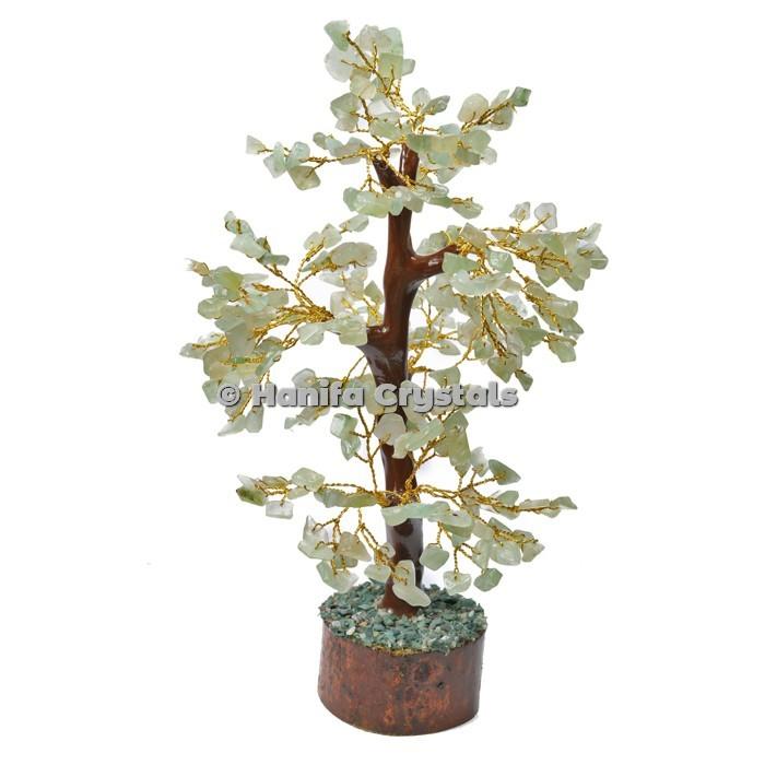 Green Aventurine Mseal 300 Chips Gemstone  Golden Wire Tree