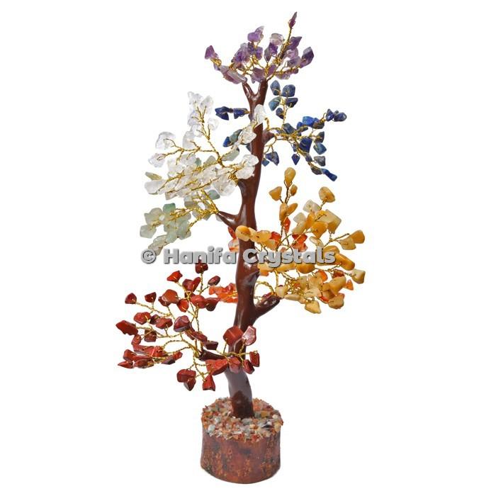 Chakra Stone Mseal 300 Chips Gemstone  Golden Wire Tree