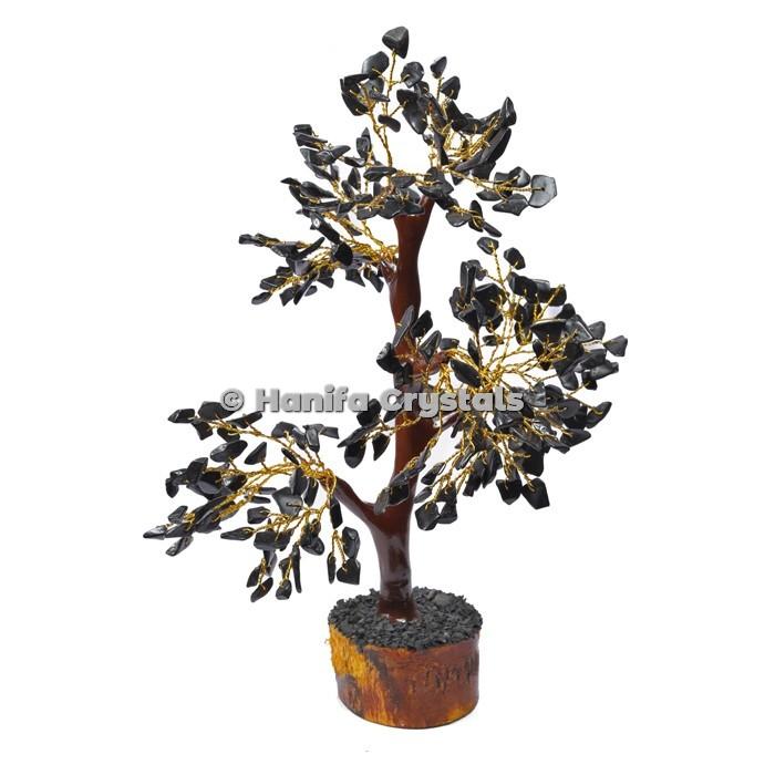 Black Jasper Mseal 300 Chips Gemstone  Golden Wire Tree