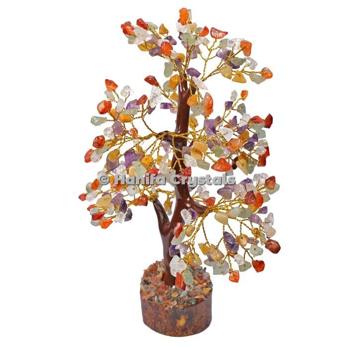 Multi Stone Mseal 300 Chips Gemstone  Golden Wire Tree