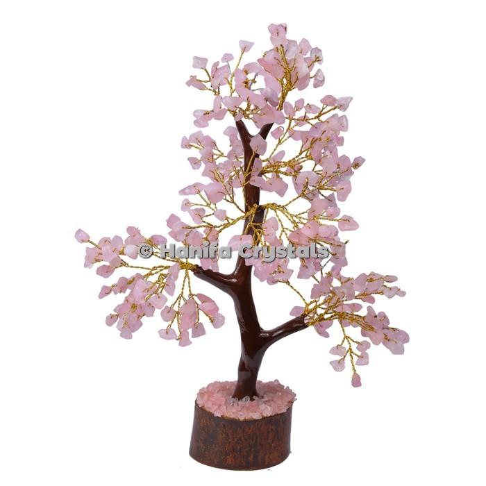 Rose Quartz Mseal 300 Chips Gemstone  Golden Wire Tree
