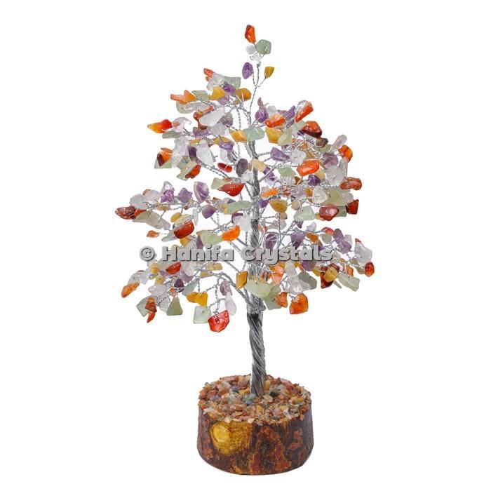 Multi Stone 300 Chips Gemstone Silver Wire Tree