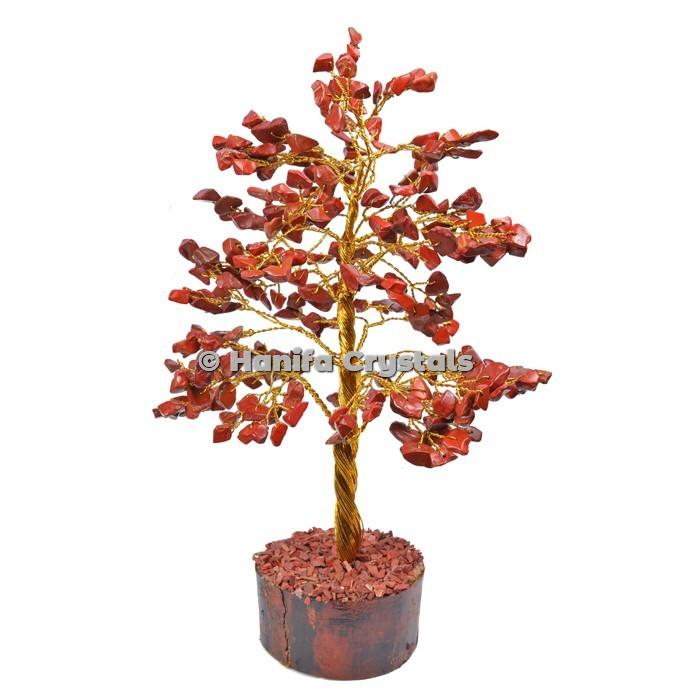 Red Jasper 300 Chips Gemstone Golden Wire Tree