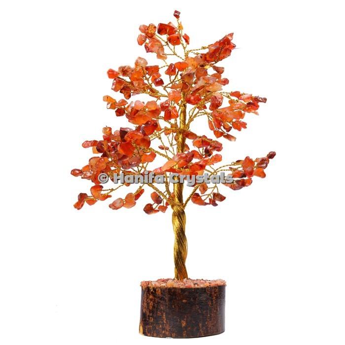 Red Carnelian 300 Chips Gemstone Golden Wire Tree