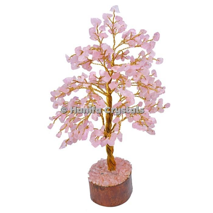 Rose Quartz 300 Chips Gemstone Golden Wire Tree