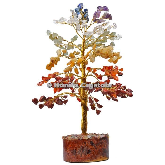 7 Chakra 300 Chips Gemstone Golden Wire Tree