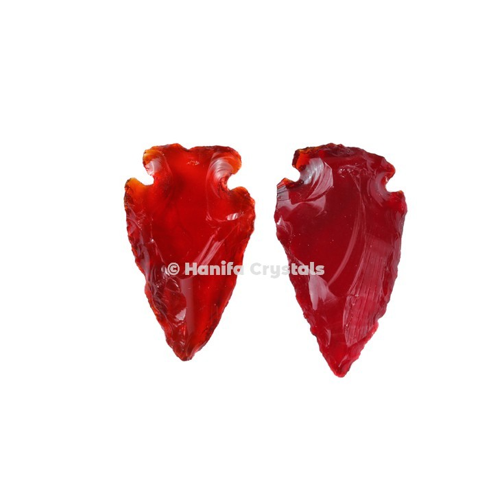 Red Glass Indian Arrowheads
