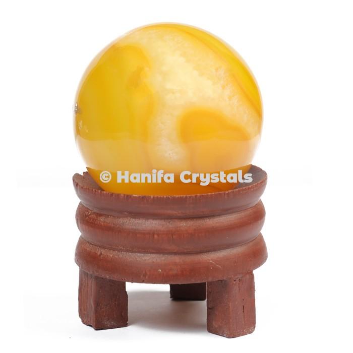 Yellow Onyx Gemstone Sphere