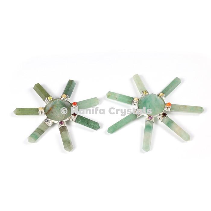 Green Aventurine with Seven Chakra Stones Healing Energy Generator