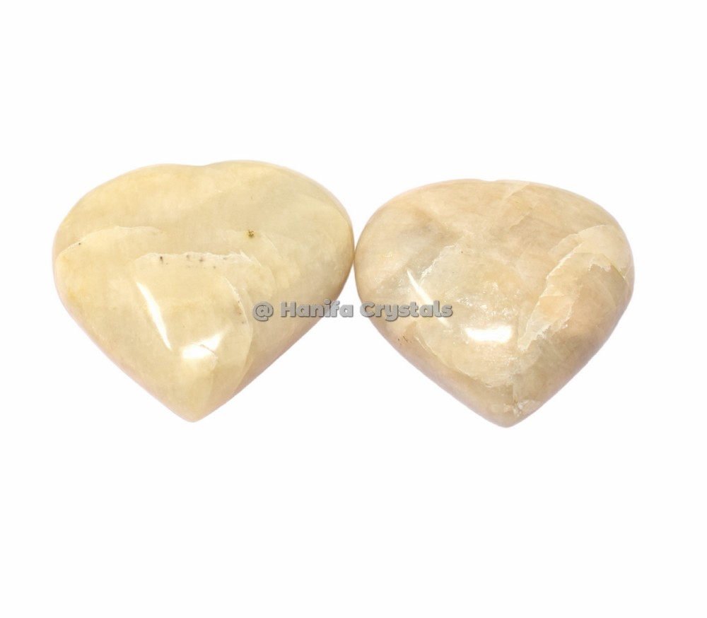 Cream Moonstone Puffy Hearts