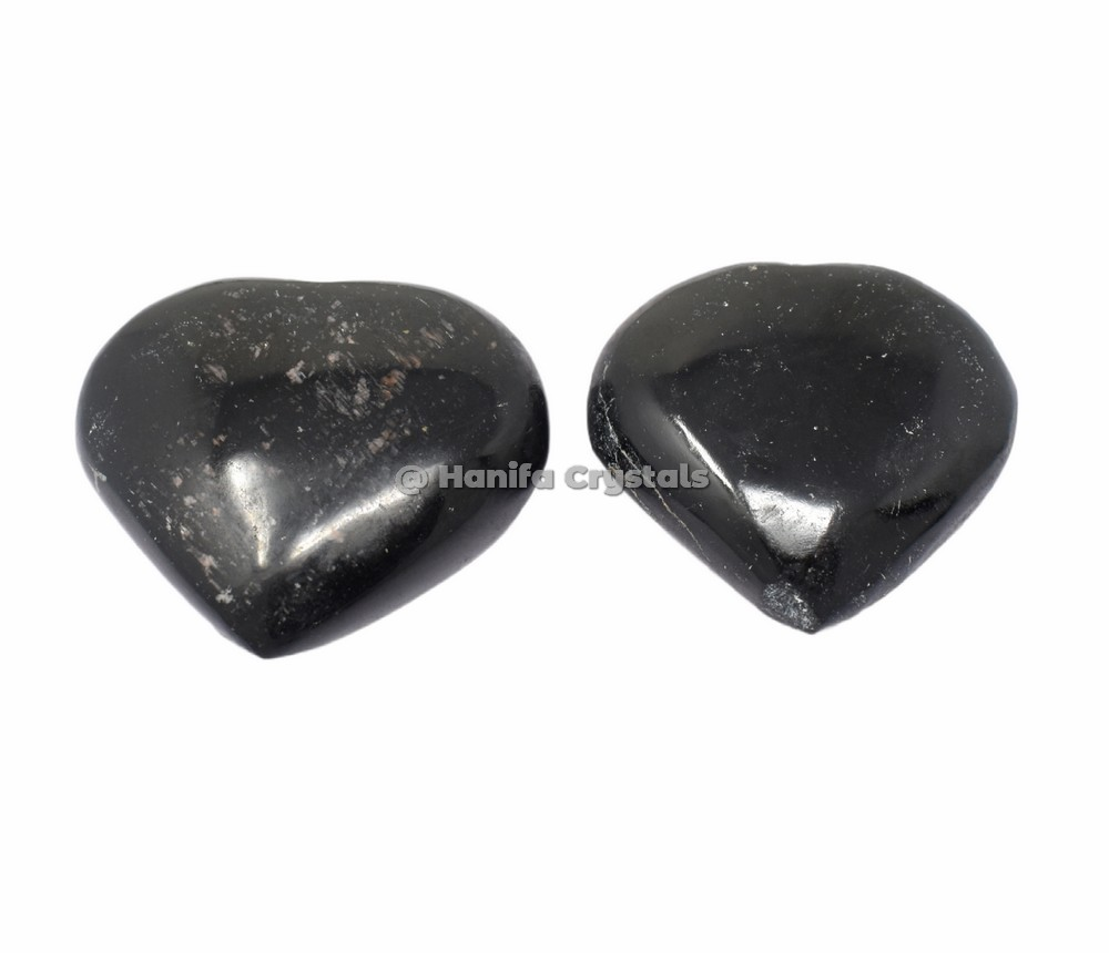 Black Tourmaline Puffy Hearts
