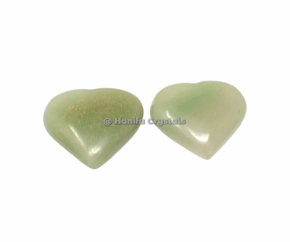 Green Aventurine Puffy Hearts