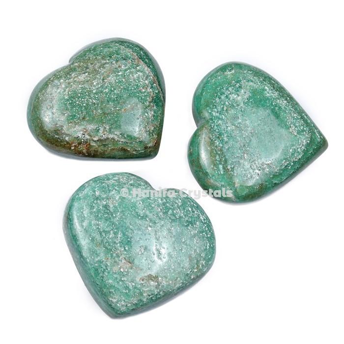 Green Jade Puffy Hearts