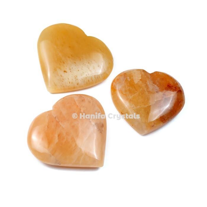 Golden Quartz Puffy Hearts