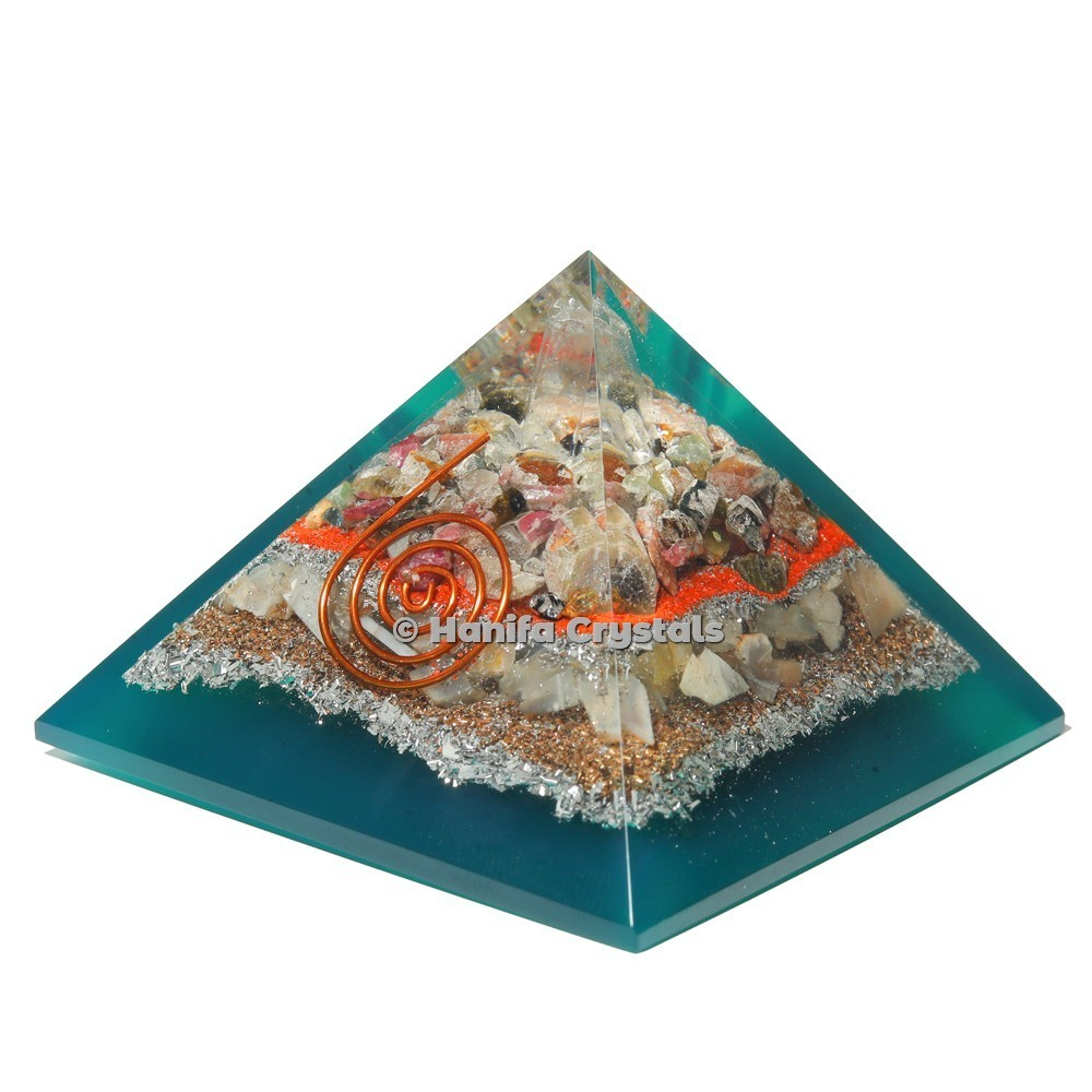 Multi Tourmaline Orgonite Emf Protection Pyramid With Howlite Stone