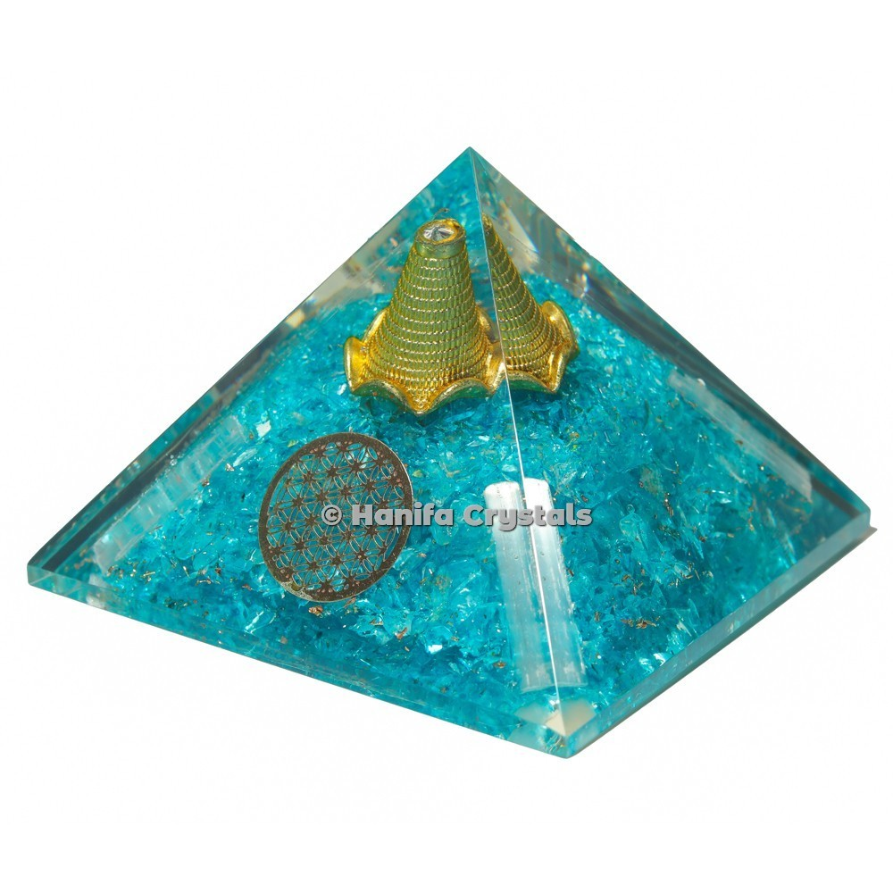 Aquamarine With Selenite Orgonite Emf Protection Pyramid With Flower Of Life