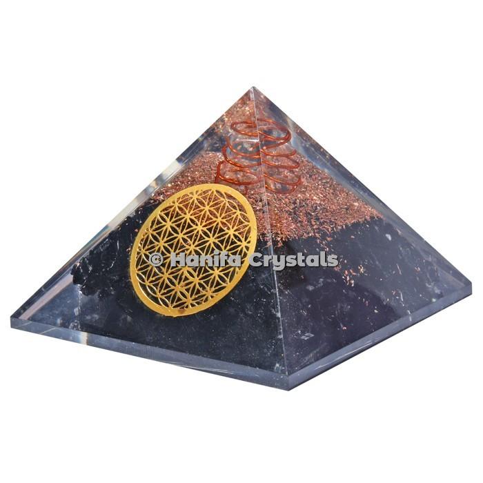 Black Tourmaline With Flower Of Life Orgonite Pyramids