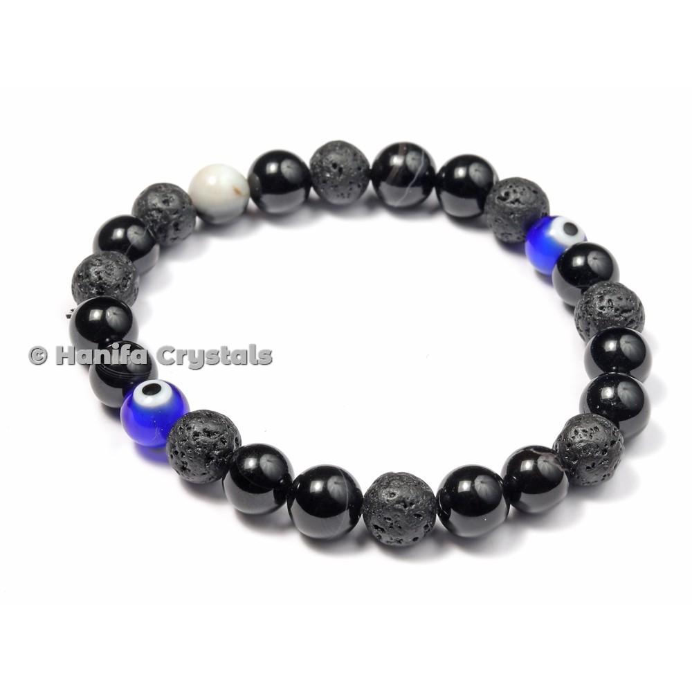 Black Obsidian And Lava With Blue Third Eye Bracelet