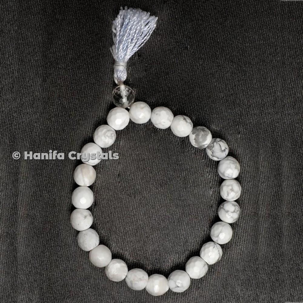 Howlite Faceted Power Healing Yoga Bracelet