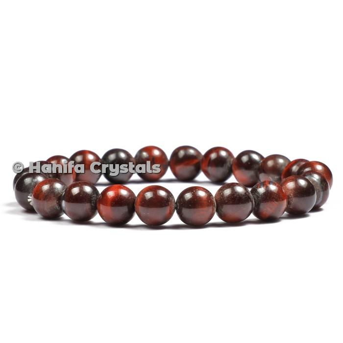 Red Tiger Eye Beads Bracelet